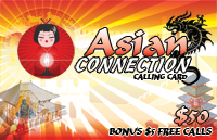 Asian Connection $50 - International Calling Cards