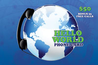 Hello World Phone Card $50 - International Calling Cards