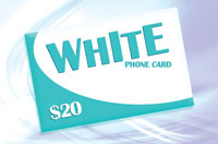 White Phone Card $20 - International Calling Cards