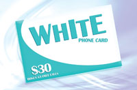 White Phone Card $30 - International Calling Cards